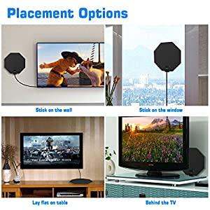 TV Antenna, LENPOW Best Indoor 1080P Amplified Digital TV Antenna 60 Mile Range with Detachable Amplifier Signal Booster, USB Power Adapter, 16.5Ft High Performance Coaxial Cable, Black