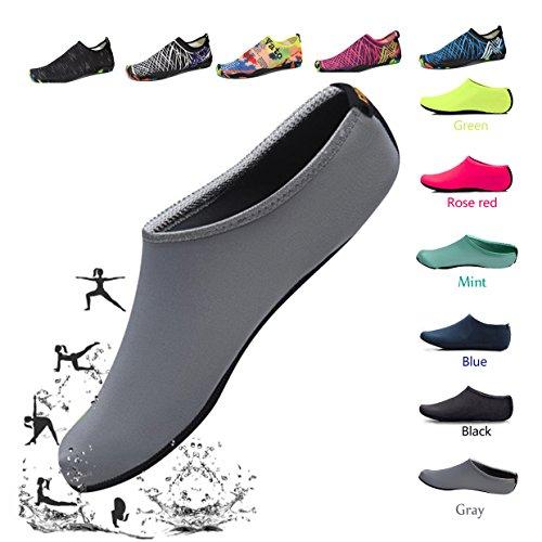 HLM Sock Soccer Shoes Beach Swim Proof Pool Tennis Casua Size 11 10 8 6 9 .5 Black Blue White Red Pink L Indoor Breathable Swiming Running Barefoot Shoes Socks (Us Women-6/Men-5-2.Gray)