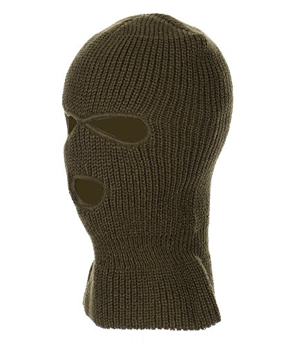 RufnTop Ski Mask for Cycling & Sports Motorcycle Neck Warmer Beanie Winter Balaclava Cold Weather Face Mask(3 Holes Olive One Size)