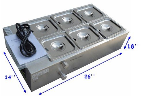 Six Pans Dry Well Bain Marie Chocolate Tempering Melter 110V 1000W Automotive Temperature Control