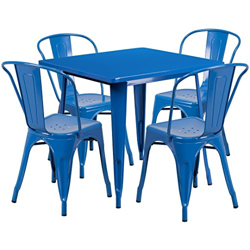 MFO 31.5'' Square Blue Metal Indoor-Outdoor Table Set with 4 Stack Chairs