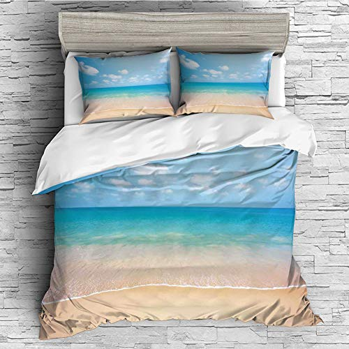 Cotton Bedding Sets Duvet Cover with Pillowcases Printed Comforter Cover Sets(King Size) Ocean,Dreamy Hot Tropical Sea Coast with Soft Waves and Sunny Sky Landscape Nature Life Decorative,Cream Blue
