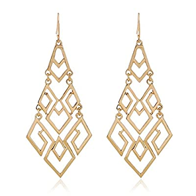 D EXCEED Women's Gift Idea Fashion Gold Cutout Diamond Chandelier Tiered Dangle Earrings, 3.15""
