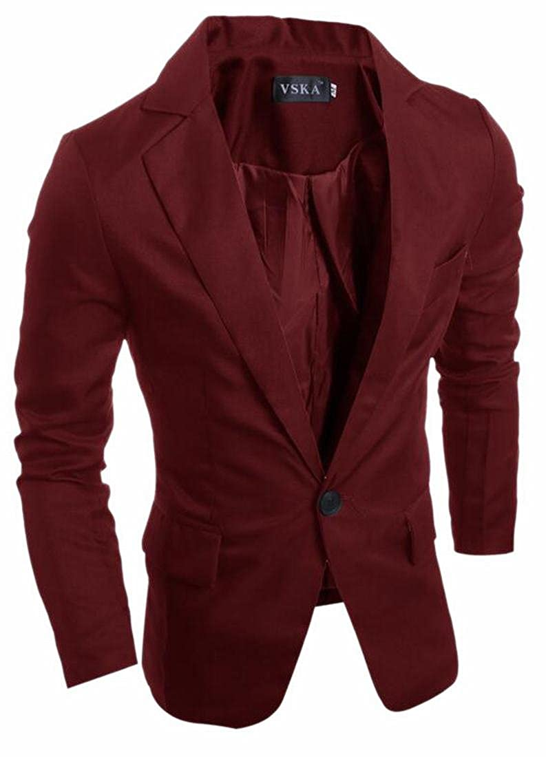 CBTLVSN Men Stylish One Button Pure Lapel Suit Formal Blazer Jacket