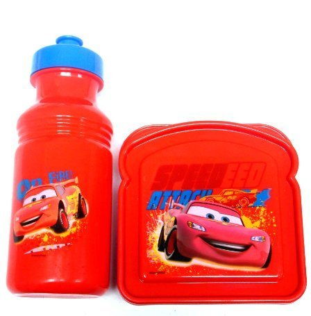 Cars Lightning McQueen Sandwich Container and Water Bottle Lunch Set by Disney