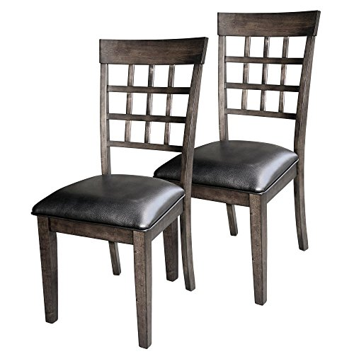 (A-America Bristol Point Grid Back Dining Side Chair - Warm Gray - Set of 2 )