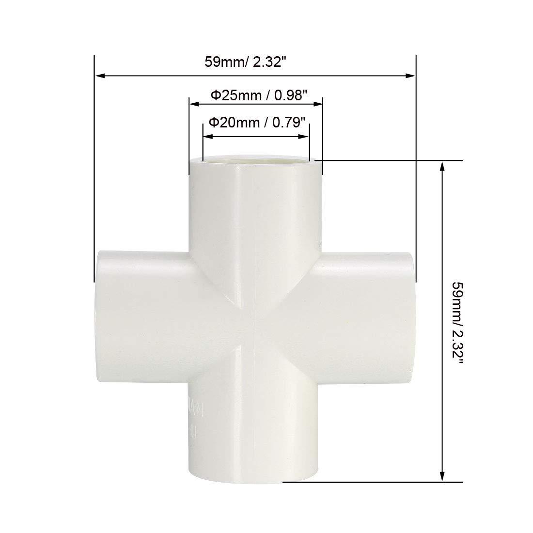Conectores de PVC para muebles sourcing map Conector de tuber/ía de PVC de 4 v/ías en cruz con z/ócalo de 20mm blanco 6uds