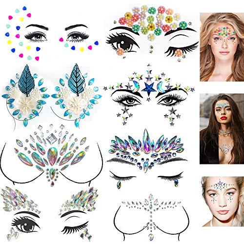 8 Sets Face BreastTattoo Stickers, BohemianRhinestone Crystal Mermaid TearsStickers Rave Party FestivalMetallic Shiny Gems Glitter TemporaryEyes Face Body Tattoos Jewels