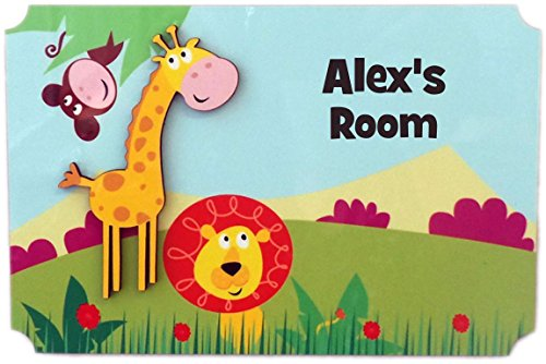 (Rikki Knight Alex's Room - 3D Giraffe on Jungle - Door Sign Plaque with Name for Children and Baby's Bedroom)