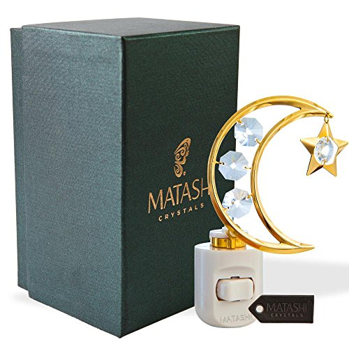 24K Gold Plated Crystal Studded Childrens Night Light with LED Bulb by Matashi (Moon & Star, White LED Bulb)