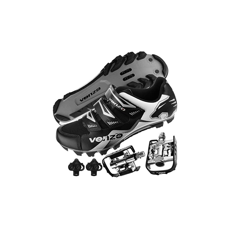 Venzo Mountain Bike Bicycle Cycling Shimano SPD Shoes + Multi Use Pedals