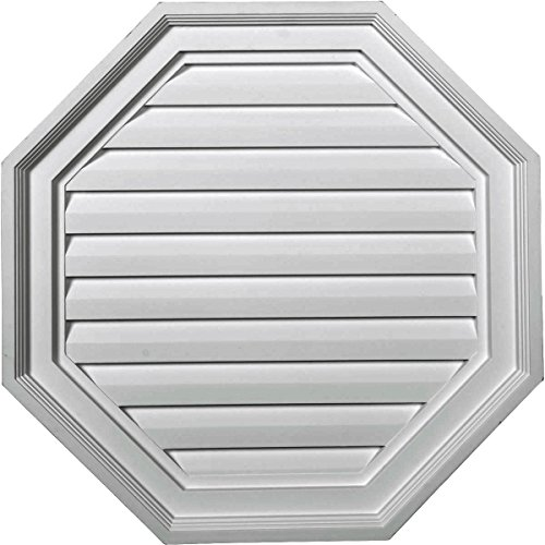 Ekena Millwork GVOC22X22D 22-Inch W x 22-Inch H x 2 1/8-Inch P Octagon Gable Vent Louver, Decorative