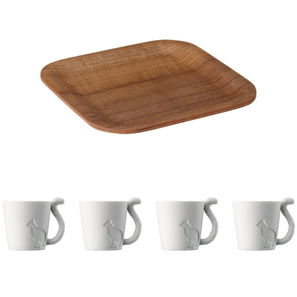 KINTO 6.3 inch Nonslip Square Teak Tray and Four MUGTAIL Cat Porcelain Mug, Set of 5