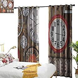 Decor Curtains Clock Antique Clocks on The Wall Instruments of Time Vintage Design Pattern Artwork Privacy Protection W84 x L96 Brown and Red