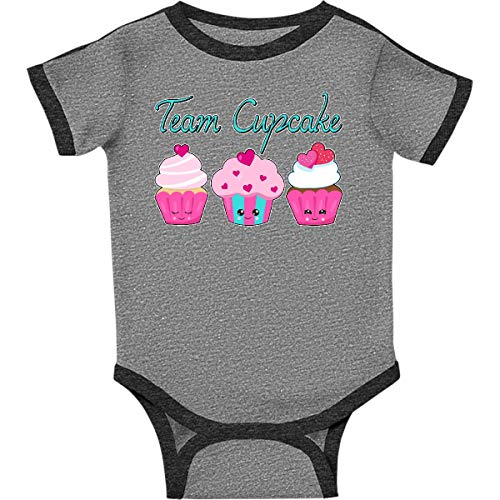 inktastic - Team Cupcake- Infant Creeper Newborn Ringer Heather and Smoke 2eb47