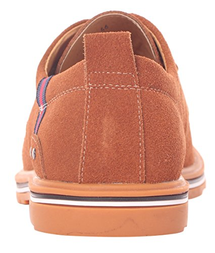 Runday Heren Lente Ronde Neus Lace-up Casual Ademende Suède Mode Oxfords Tan