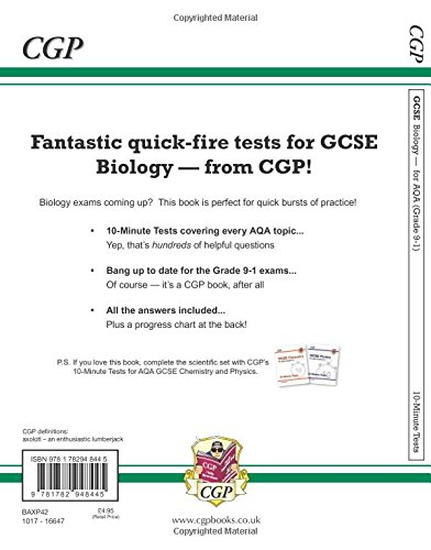 New Grade 9-1 GCSE Biology: AQA 10-Minute Tests (with