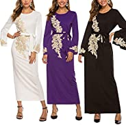 Women's Embroidered Kaftan Dress Muslim Long Sleeve Flowy Maxi Dress Abaya Islamic Long Dresses Evening Go