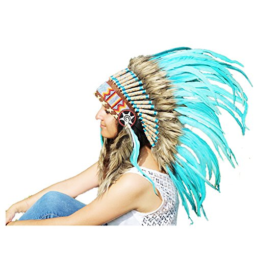 X39 Amazing Turquoise Feather Headdress 42 scrollwork with Turquoise Yarn. -