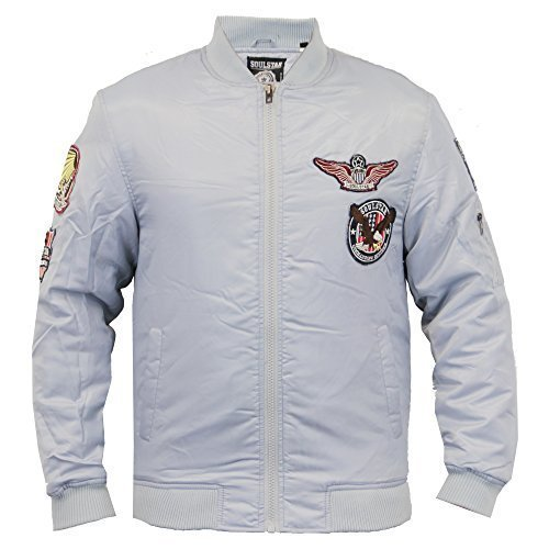 Soul Star Herren Jacke MA1 Harrington Gepolstert Orden Militär Baseball Winter - Grau - KOTOPKB, Medium
