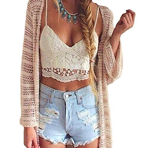 Romacci Women Crochet Tank Camisole Lace Vest Blouse Bralette Bra Crop (Lace Bra Top)