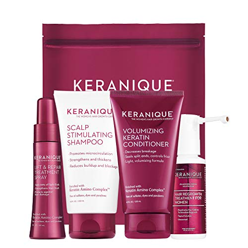 Keranique Hair Regrowth System – 30 Days   Keratin Complex, Free of Sulfates, Dyes and Parabens   Shampoo & Conditioner, Minoxidil, Lift and Repair Treatment Spray