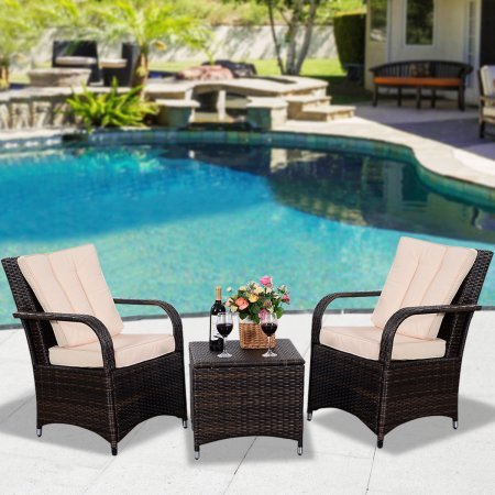 Amazon 3 piece Patio Outdoor Furniture Set Rattan Wicker for