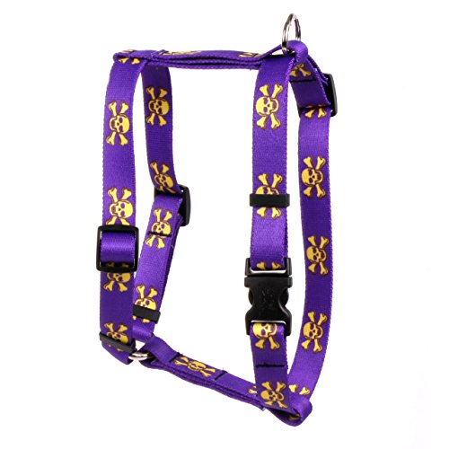 Yellow Dog Design Purple Gold Skulls Roman Style H Dog Harness, X-Small-3/8 Wide fits Chest of 8 to 14