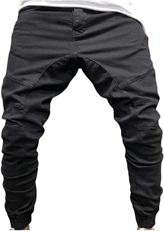 Nicellyer Men Stylish Hip Hop Fitted Side Zipper Close-bottom Casual-pants