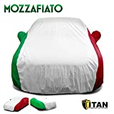 Mozzafiato Iconic Style Car Cover. Premium Quality, Waterproof, and Durable. Designed for Compact and Mid-Size Sedans Measuring Up to 190 Inches Long. Red, White and Green Tricolor.