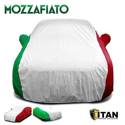 (Mozzafiato Iconic Style Car Cover. Premium Quality, Waterproof, and Durable. Designed for Compact and Mid-Size Sedans Measuring Up to 190 Inches Long. Red, White and Green Tricolor.)