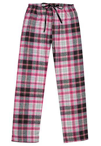 Women's Cotton Yarn-Dyed, Plaid Flannel Lounge Pants-L1322-9, Pink Black, L