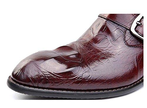 WZG Bottes homme en Europe et en Amérique vraiment Pima Ding bottes version coréenne de chaussures casual chaussures de mode des bottes en cuir en relief ont fait des bottes , wine red , 39