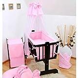 8 Pcs Crib Bedding Set with Canopy + Holder, All-round Bumper 90x40 cm - Plain Pink