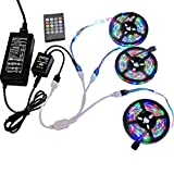 49.2ft / 15M RGB LED Strip Light, 20 Key IR Remote Music Controller, SMD 3528 RGB Color Changing Tape Light Full kit,(3x16.4ft Non-Waterproof Strip)