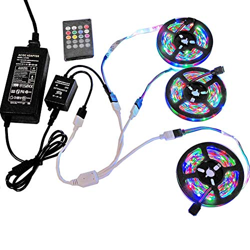 49.2ft / 15M RGB LED Strip Light, 20 Key IR Remote Music Controller, SMD 3528 RGB Color Changing Tape Light Full kit,(3x16.4ft Non-Waterproof Strip) by Firstsd (Image #10)