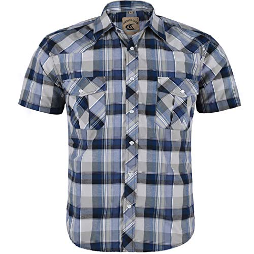 Coevals Club Men's Button Down Plaid Short Sleeve Work Casual Shirt (Blue & Light Gray #13, L)