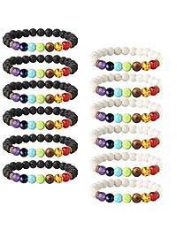 LOYALLOOK 6-12PCS Lava Stone Bracelet Chakras Bead Naturale Stone Bracelet Oil Diffuser Bracelt