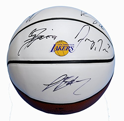 Los Angeles Lakers 2017-18 Team Autographed Signed White Panel Basketball Lonzo Ball Kyle Kuzma
