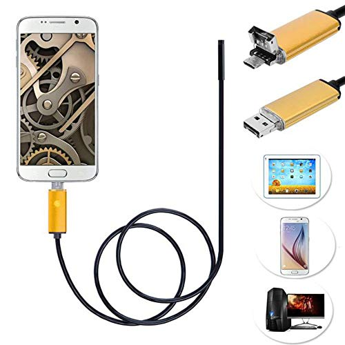 KUNAW 2 in 1 Android USB Endoscope Inspection 5mm Camera 6 LED HD IP67 Waterproof Ear Cleaning Endoscope Visual Earpick Camera Ear Clear Tool 2M/5M/10M ()