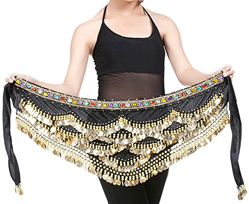 Create A Gypsy Halloween Costume (Yeeco Belly Dance Waist Chain Widening Waistband Waist Performance Costume 328 Gold Coins (Black))