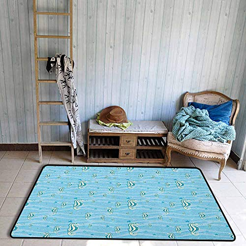 Kids Rug,Animal Cartoon Like Seahorses for Kids Nursery Baby Girls Boys Childish Playroom Nautilus,Rustic Home Decor,4'11