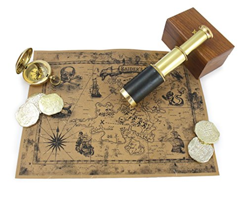 Adult Treasure Chest Pirate - Well Pack Box Antique Brass Telescope For Adults And Kids Includes Authentic Brass Compass, 6 Plastic Golden Doubloons, Smooth Durable Telescope Case, and Real World Brown Paper Pirate Map