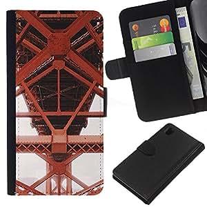 Hierro Rojo Estructura de construcción- la tarjeta de Crédito Slots PU Funda de cuero Monedero caso cubierta de piel Para Sony Xperia Z1 L39
