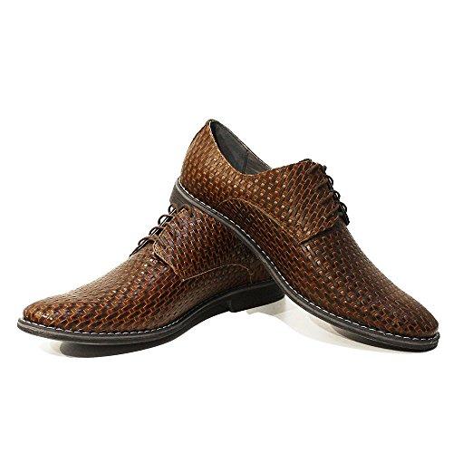 Modello Michele - Handgemachtes Italienisch Leder Herren Braun Oxfords Abendschuhe - Rindsleder Geprägtes Leder - Schnüren