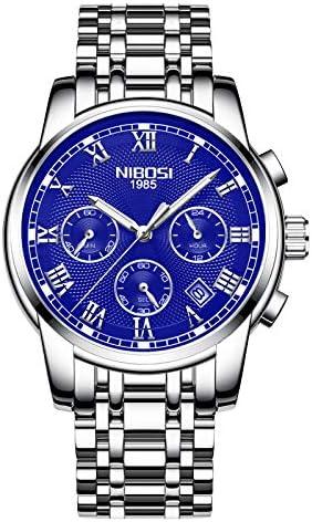 NIBOSI Men's Watches Luxury Fashion Casual Dress Chronograph Waterproof Military Quartz Watch For Men Stainless Steel Blue Calendar Date Watch