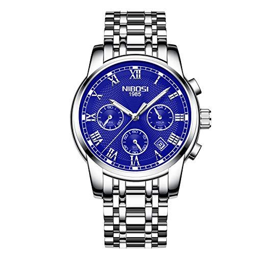 NIBOSI Men's Watches Luxury Fashion Casual Dress Chronograph Waterproof Military Quartz Wristwatches for Men Stainless Steel Blue Calendar Date Watch