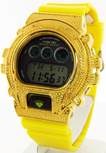 Gold Yellow Master - Unisex Ice Plus Aqua Master Gold Diamond Case & Shiny Yellow Band Digital  Diamond Watch #MMG-6