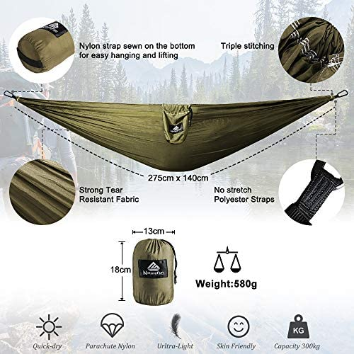 NatureFun Ultra-Light Travel Camping Hammock300kg Load Capacity, 275x 140 cm