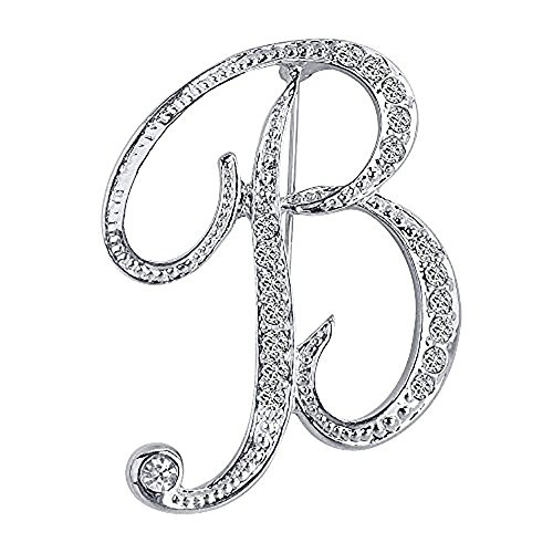 Opromo 26 Letters Silver Plated Metal Clear Crystal Lapel Pin Brooches Collar-Silver Letter -